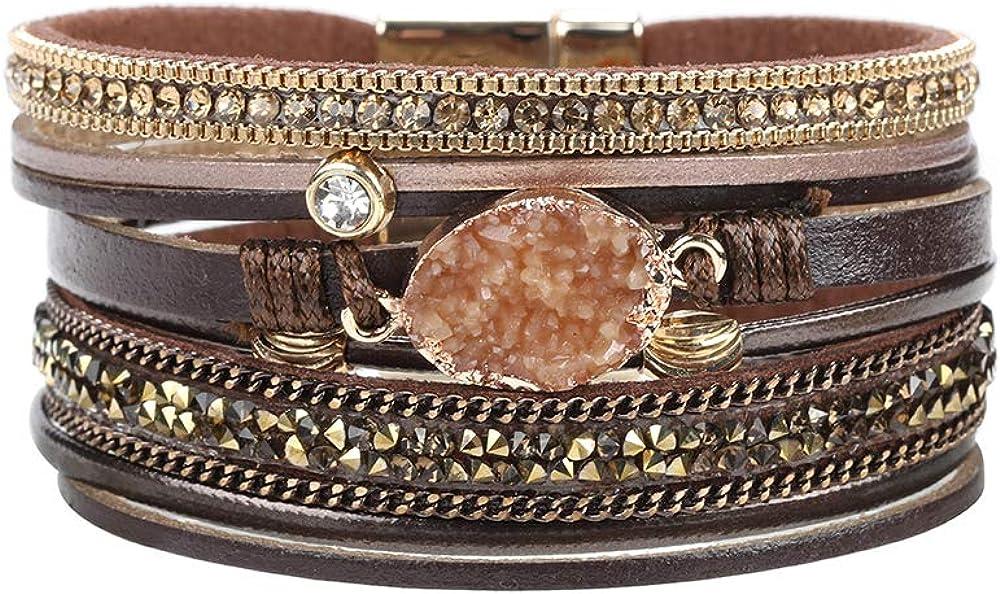 Multilayer Leather Bracelet Handmade Crystal with safety OFFer Bangle Ma Wrap