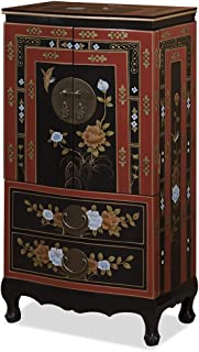 ChinaFurnitureOnline Tibetan Jewelry Armoire, Hand Painted Floral Motif with Bird and Flower Red and Black