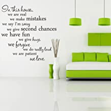 CUGBO in This House Wall Decal Quote Removable Vinyl Wall Art Decor Living Room Bedroom Home Sticker