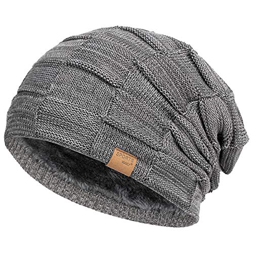 Vgogfly Slouchy Beanie for Men Winter Hats for Guys Cool Beanies Mens Lined Knit Warm Thick Skully Stocking Binie Hat Dark Grey