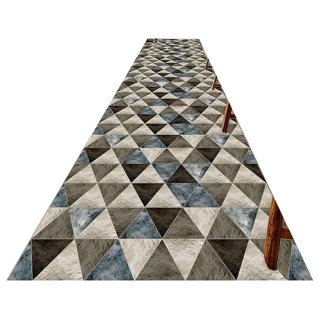 氏副財政LJJL 廊下のカーペット 現代グレーで廊下ランナーラグ - トライアングル幾何学的パターンエリア敷物非ホームオフィスキッチンベッドルームの床の場合は、カーペットをスリップ(サイズ:W60cmがH100cmをX) (Size : 100×100CM)