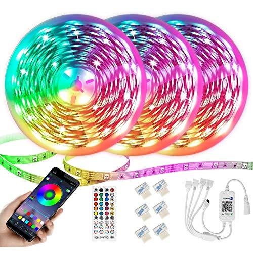 Ruban LED,Bande LED 15M 5050 RGB 450 LEDs,Kit de Bande LED Multicolore avec Télécommande RF, Contrôlé par APP du Smartphone Bande LED Lumineuse Pour Maison, Cuisine, Fête