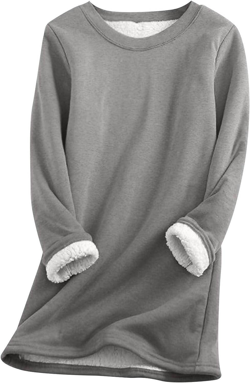 EFOFEI Womens Sherpa Fleece Lined Pullover Crewneck Solid Color Sweatshirt