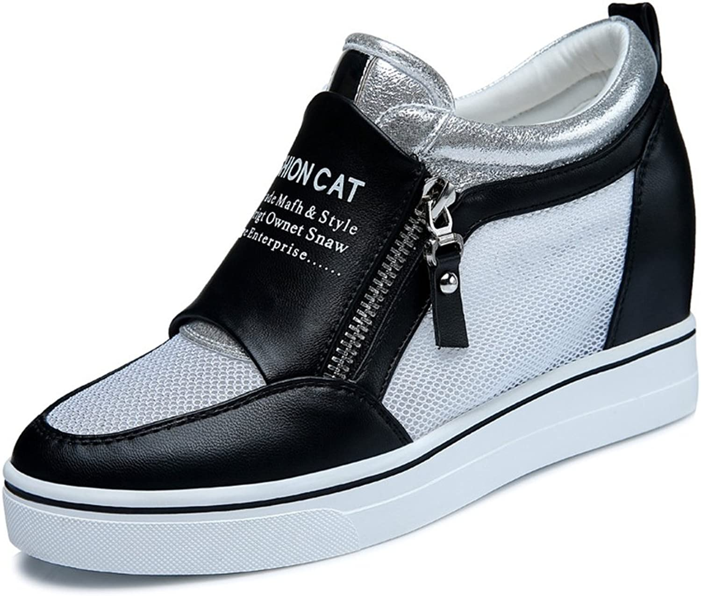 U-MAC Women Anti-Slip Round Toe Sneakers Increased Inside shoes Side Zipper Flat Casual Thick shoes