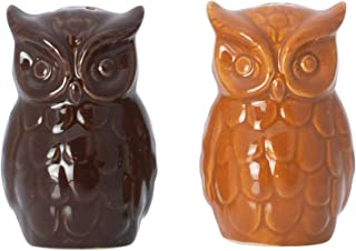 Orange and Dark Brown Embossed Barn Owl Shaped 3.5 x 3 Dolomite Ceramic Salt and Pepper Shaker Set
