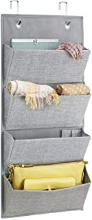 mDesign Soft Fabric Over The Door Hanging Storage Organizer with 4 Large Pockets for Closets in Bedrooms, Hallway, Entryway, Mudroom - Hooks Included - Textured Print - Gray