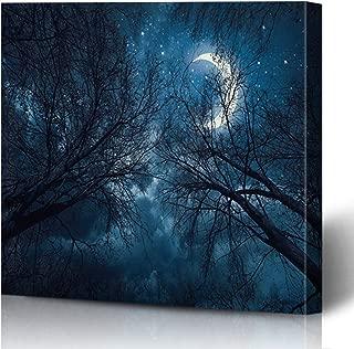 Onete Canvas Prints Painting Artwork 16x16 Glowing Midnight Dark Sky Starsmoon Treesmystic Landscape Night Forest Moonlight Nature Holidays Wall Art Printing Home Bedroom Living Room Office Dorm
