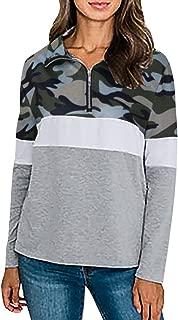 HANANei Women Camouflage Casual Long Sleeve Blouse Sweatshirt High Collar Zipper Pullover Tops Jumper Coat (M)
