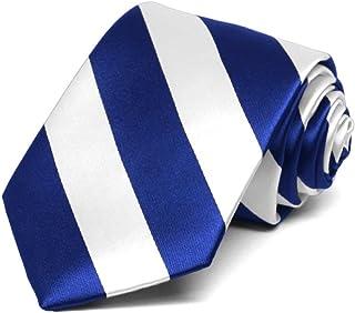 TieMart Boys' Royal Blue and White Striped Tie