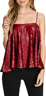 Women's Sparkly Sequin Tank Tops Spaghetti Strap Shimmer Fit Club Vest