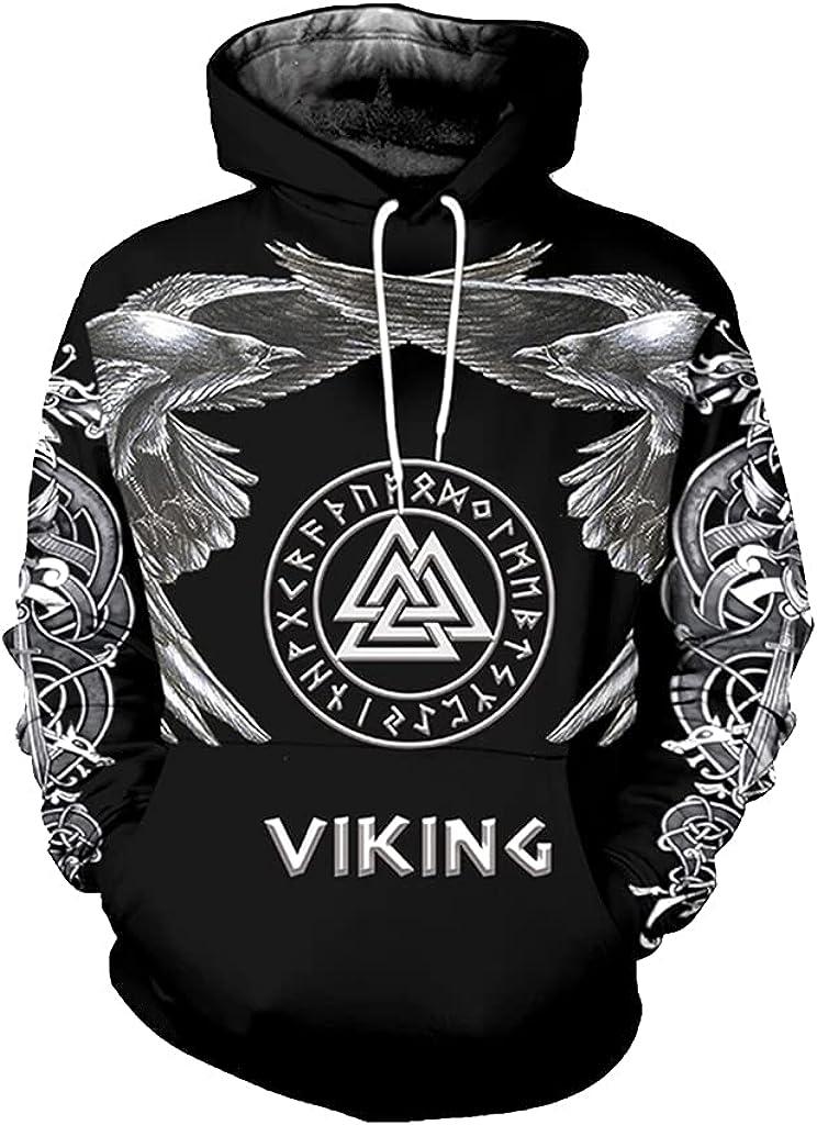 Viking Men Tattoo Hoodies 3D All Over Printed Fenrir Wolf Casual Loose Sweatshirt Hoodie Fashion Harajuku Style Fall Coat