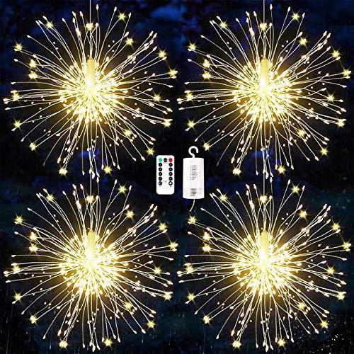 Feuerwerk Lichterketten, 4 Stücke Starburst Lichter Feuerwerk LED Licht Kupferdraht Feuerwerk Lichter Weihnachten Feuerwerk Zeichenfolge 8 Modi wasserdicht mit Fernbedienung