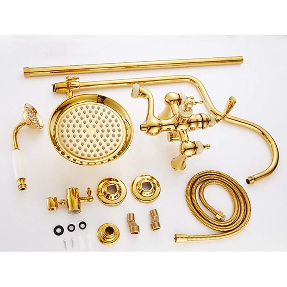 きらきら新しい意味笑いシャワー 真鍮シャワー蛇口10インチラウンドトップスプレーシャワーシステム3モードダブルリフトヨーロッパゴールドレトロジェイドホット&コールドシャワーセット