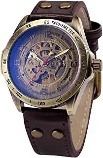 Full time 24 Mechanical Vintage Bronze Case Automatic Mechanical Skeleton Brown Leather Band Men's Sport Watch