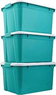 LANHA 3 Paquets Caisses de Rangement, avec couvercles et poignées Bacs de Rangement en Plastique Boîte de Rangement pour J...