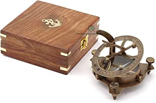 Best Presents for Him/ Vintage Brunished Brass Compass with Wooden Box/ West London Directional Magnetic Compass for Navigation/Sundial Pocket Compass for Camping, Hiking, Touring …