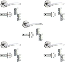 5 Sets Door Handle Pack Internal C/w Latch Hinges Toledo Lever Furniture Satin Chrome by DJM Direct