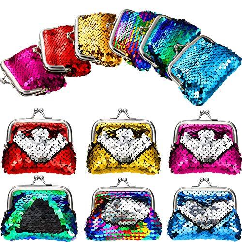 12 Pieces Sequin Coin Purses Reversible Sequin Mini Wallets Pouches Colorful Sequins Bags for Party...