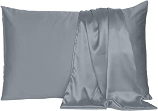 Oussum Soft and Comfortable Silky Satin Pillowcase Cover for Hair and Skin Bedroom Decor (Steel Gray, Regular Size, 18x27 ...