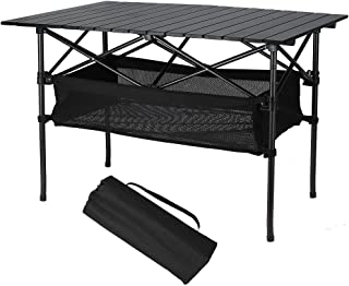 slatted aluminium camping table with carry bag