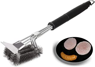 360° BBQ Grill Brush with ULTRASCRAPE Scraper and Stainless Steel Wire Bristles. Rust Resistant TRIPLE HEAD attached to a ...