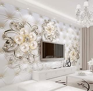 Wanghan 3D Wallpaper Custom Wallpaper Home Decor Soft Pack Faux Leather Pearl Flower Tv Mural Living Room Bedroom Murals 150Cmx100Cm