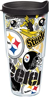 Tervis NFL Pittsburgh Steelers All Over Tumbler with Wrap and Black Lid 24oz, Clear