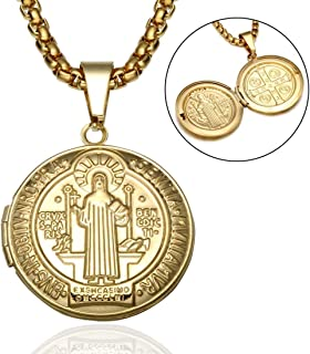 BORNjewelry Catholicism Patron Saint St Benedict Holy Medal Stainless Steel Can Open Photo Frame
