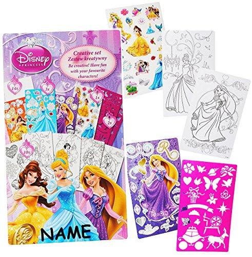 alles-meine.de GmbH Malbuch / Malset -  Disney Princess - Prinzessin  - incl. Namen - mit Schablonen + Sticker / Aufkleber + Motiv Papierbögen - Malvorlagen zum Ausmalen Malspa..