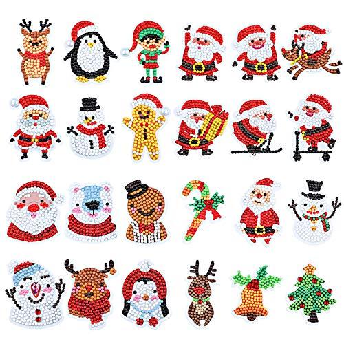 24 Pieces Christmas Diamond Sticker 5D DIY Diamond Painting Stickers Christmas Art Diamond Stickers for Kids Adults DIY Christmas Painting Decorations with Diamond