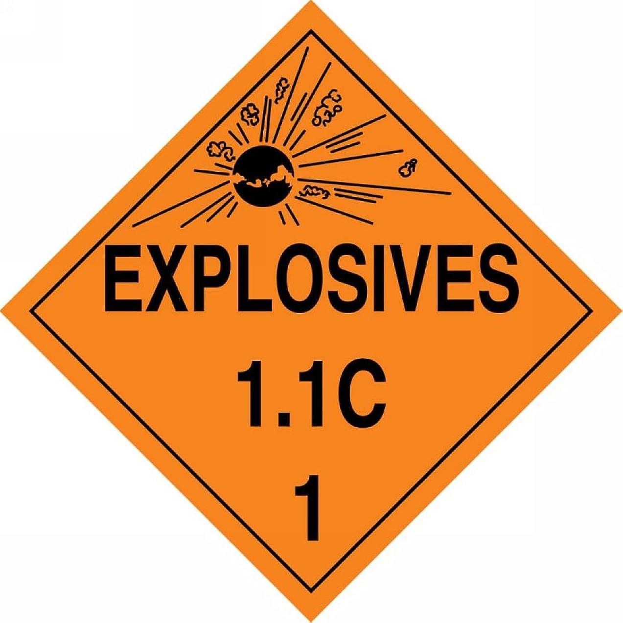 Accuform MPL13VP10 Plastic Hazard Class 1/Division 1C DOT Placard, Legend