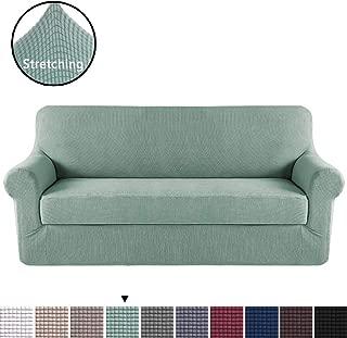 H.VERSAILTEX Elegant Luxury High Spandex Sofa Cover Stretch Jacquard Furniture Protector, 2 Separate Pieces for Sofa, Super Soft Machine Washable, Cyan, Sofa Size