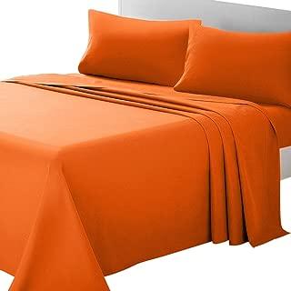 ARTALL Bed Sheet Set 3-Piece with Deep Pocket Brushed Microfiber 1800 Bedding - Twin, Orange