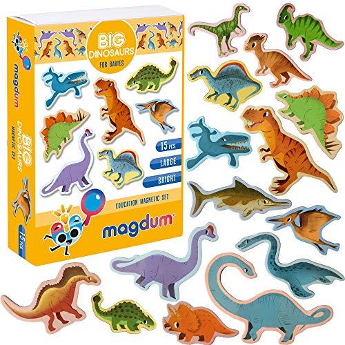 MAGDUM Fridge magnets for kids Dinosaur toy- 15 Large fridge magnets -...