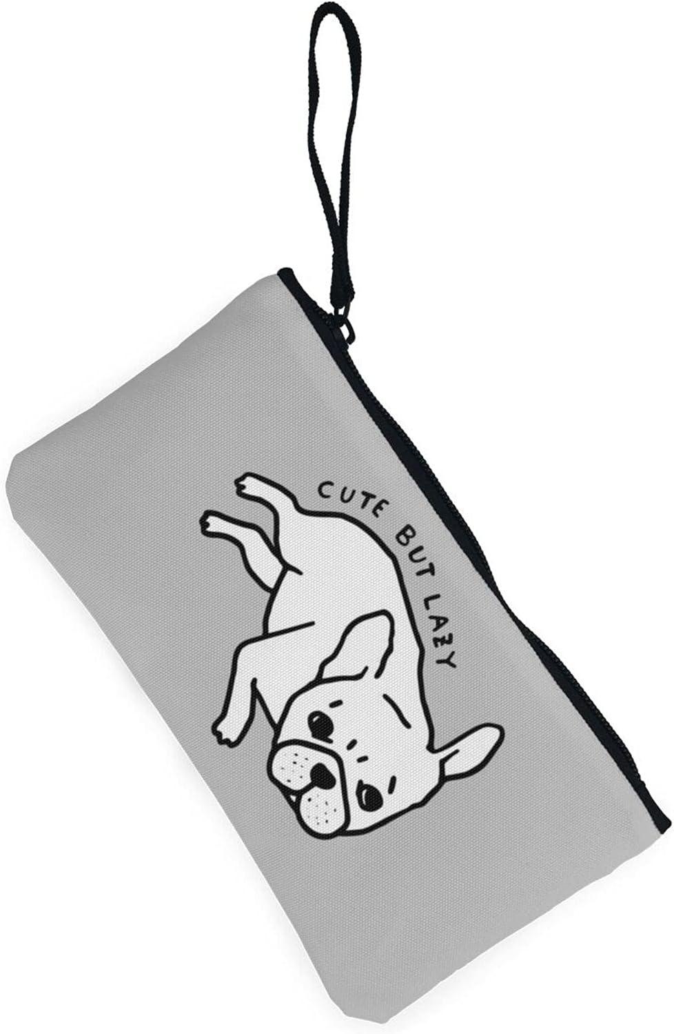 AORRUAM Dog pattern cute but lazy Canvas Coin Purse,Canvas Zipper Pencil Cases,Canvas Change Purse Pouch Mini Wallet Coin Bag