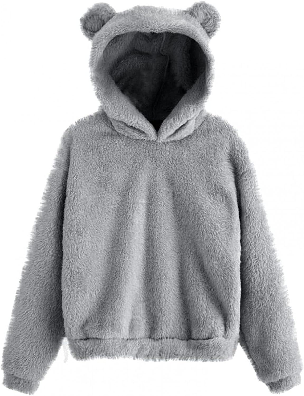 haoricu Women Hooded Cardigan Fuzzy Jacket Fashion Teen Girl Sweatshirt Hooded Cardigan Outwear Sweaters