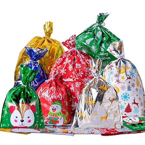 TOMNK Christmas Bags 46 Pieces Wrapping Bags in 8 Assorted Styles with Ribbon Ties for Xmas, Holiday Goody
