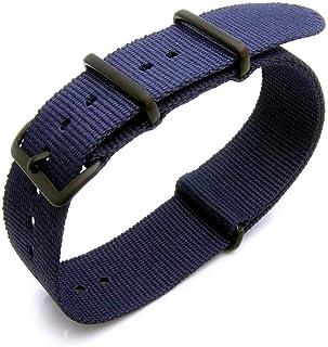 Cinturino con fibbia nera PVD in nylon pesante termosaldato 18mm, 20mm o 22mm - Blu navy