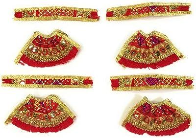 Sheel Cosmetics Silk Crystal Plated MATA Rani Poshak Red&Golden Pack of 4 (Size 0)