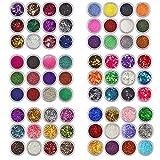 XICHEN® - Glitter in polvere per nail art, per decorazione unghie, mix che include diversi tipi, 72 pezzi