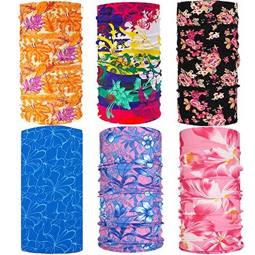 6 Pack Floral Bandanas UV Shield for Face Cover Balaclava Head Buff Scarf Fishing (Flower 2, 6)