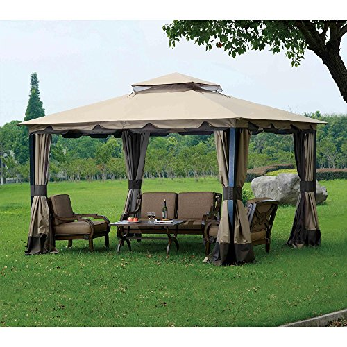 Sunjoy 110109117 Original Replacement Canopy (Deluxe Version) for Monterey Gazebo (10X12 Ft) L-GZ215PST-4 Sold at BigLots, Brown