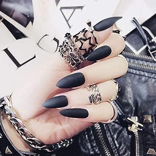 Milanco 24Pcs Colorful Full Cover Medium Matte Stiletto Shape Sharp False Gel Nails Art Tips Sets (Black)