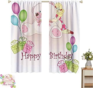 Mozenou Kids Birthday Curtain Extra Long Baby Girl Birthday with Teddy Bears Toys Balloons Surprise Boxes Dolls Image Fade Resistant Polyester Microfiber W63 x L63 Pale Pink