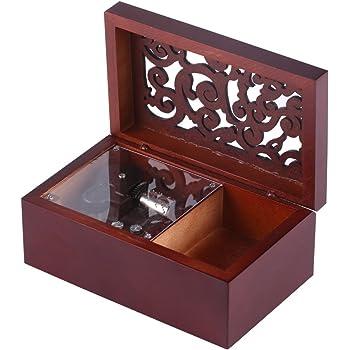Caja de Música de Madera Caja Musical de 18 Nota Wind Up Caja de Música Caja de Maquillaje Decoración de Hogar Regalo de Navidad Valentín(Silver/Edelweiss): Amazon.es: Hogar
