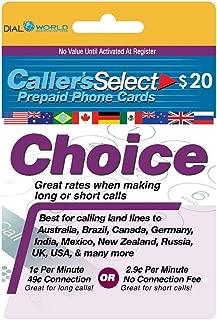 callers choice prepaid phone card