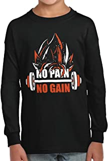 No Pain No Gain Nerdy Anime Gym Motivation Kids Long Sleeve T