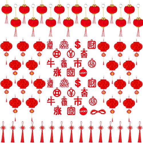 77 Chinesisch Neujahr Dekoration, Enthalten 26 Rot Chinesisch Schriftzeichen Hängend Verzierung, 15 Chinesisch Knoten Quaste, 20 Kunststoff Papier Laterne, 16 Beflockend Rot Laterne