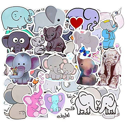 100 Piece Cute Cartoon Elephant Stickers for Teens Boy Girl Kids Cute Waterproof Vinyl Animal Sticker Decals for Laptop Computer Phone Tablet Luggage Bicycle Scrapbook, Lovely Decorative Sticker Decal