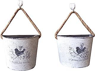 Pumpymly 2 macetas colgantes para plantas, maceta vintage para suculentas montado en la pared de lata con asas de cuerda d...
